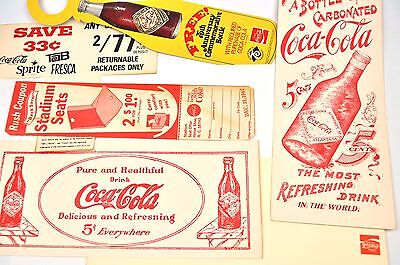 Coca-Cola Coke Drucksachen Anhänger Coupons Regal Schilder USA Bottle Hanger