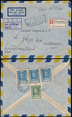 REGISTERED MAIL 1947 TEHERAN to SWEDEN AIRMAIL
