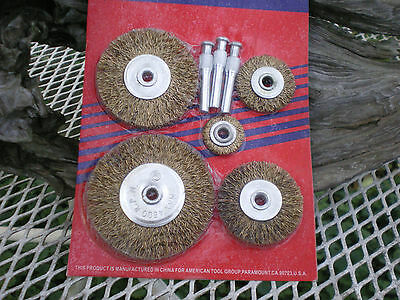 "8pc. Wire Brush Wheels Assorted sizes Metalworking Polishing set 1/4"" Arbor"