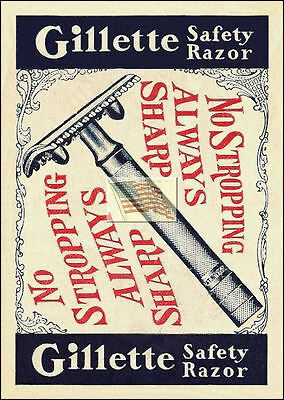 REPRINT PICTURE of old GILLETTE SAFETY RAZOR ad NO STROPPING ALWAYS SHARP 5x7