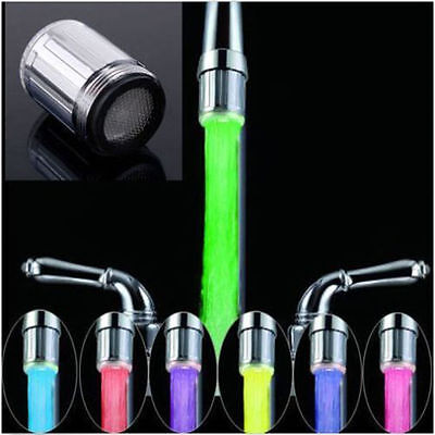 HOT 7 Color RGB Colorful LED Light Water Shower Spraying Head Faucet Bathroom QT