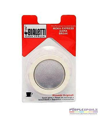 New Bialetti Silicone Ring Gasket + Filter Plate Aluminium Coffee Percolator