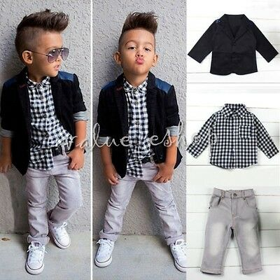 Kids Clothes Gentleman Baby Boys Top Shirt/Coat+ Pants Denim Trouser Outfits Set