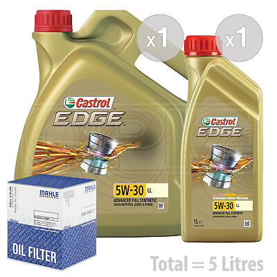 Engine Oil and Filter Service Kit 5 LITRES Castrol EDGE TITANIUM 5W-30 5W30 LL