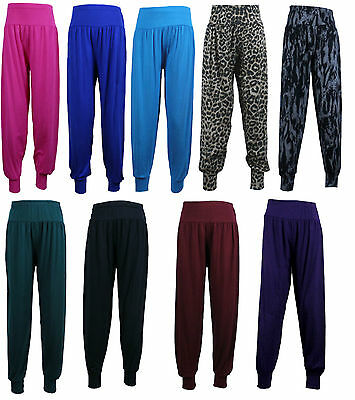 Girls Kids Children Plain hareem Harem Trousers 3/4 Pants Leggings 2-13 Years