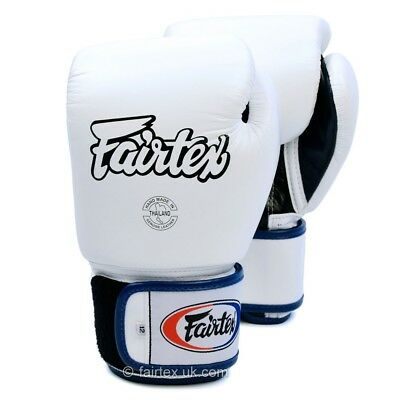 Fairtex 3-Tone Muay Thai Boxing Gloves Sparring MMA Kickboxing White Black Blue
