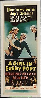 A GIRL IN EVERY PORT MOVIE POSTER Original Insert 14x36 GROUCHO MARX 1952