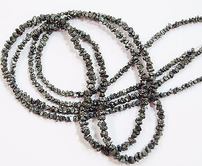 "22cts. 17"" 1.5-4 MM TOP QUALITY BLACK DIAMOND NATURAL UNSHAPED BEADED NECKLACE."