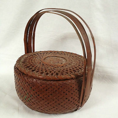 Antique Asian Bamboo Hand Woven Wedding/Sewing Basket