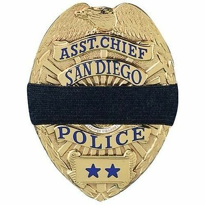Black Mourning Band Memorial Badge Cover for Police Flexible