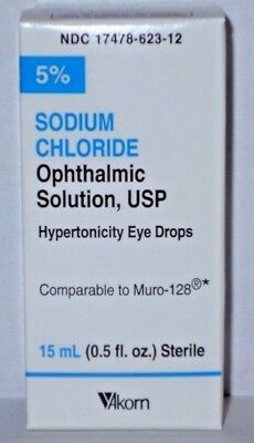 Akorn Sodium Chloride Ophthalmic Solution Eye Drops 5% 15mL -Exp. Date 04-2021