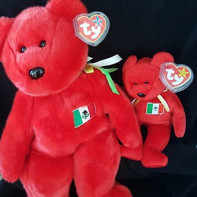 Ty Beanie Baby and Buddy Osito Mexican Flag Bear 4244 Plush1999 Mexico Lot 2