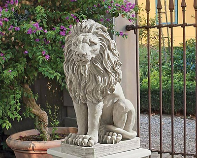 LION STATUE SCULPTURE ART Gate Guard Sentinel Garden Porch Entry Pool Statue
