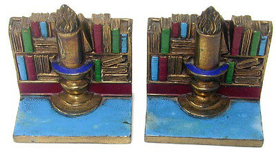 Vintage Painted Brass Book Shelf Library & Candle Bookends