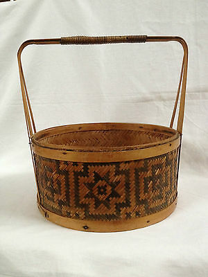 Antique Chinese Bamboo Hand Woven Wedding/Food/Sewing Basket no Lid