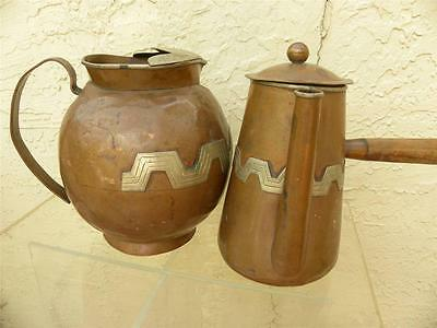 Vintage Signed Mixed Metals Taxco Mexico Copper Chocolate Pot & Water Pitcher