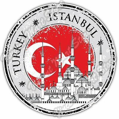Istanbul Turkey Country Flag Stamp Car Bumper Window Vinyl Sticker Decal 4.6""