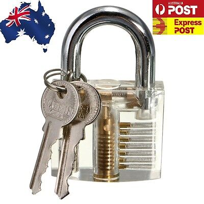 Pick Cutaway Clear Visable Padlock Lock Locksmith Practice Training Skill Set