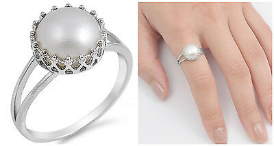 .925 Sterling Silver 12MM STUNNING ROUND DESIGN SILVER W/ PEARL RING SIZES 4-10