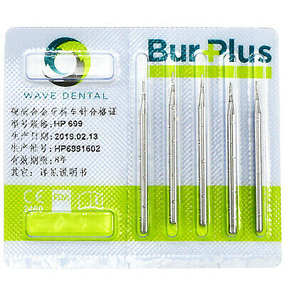 5 PCS SBT Dental Low Speed Carbide burs HP 699# Taper Flat End Cross Cut
