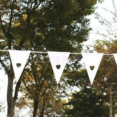 WHITE Heart Cut Out WEDDING BIRTHDAY BUNTING GARLAND PARTY Decor 16 Flags