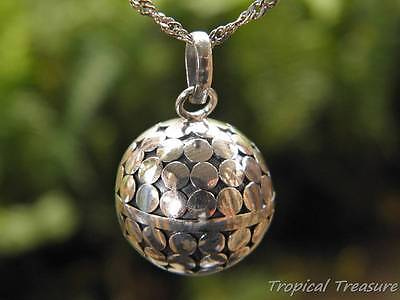 20mm Harmony Ball Pendant (Dots) + 45cm 925 SOLID Silver Singapore Chain