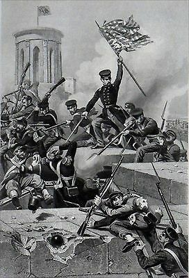 MEXICAN-AMERICAN WAR - STORMING of CHAPULTEPEC - Engraving 19th century