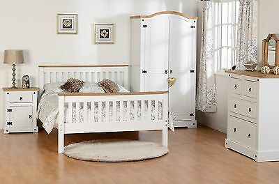 Seconique White Corona Bedroom Furniture - Wardrobe Chest Dressing Table Bed
