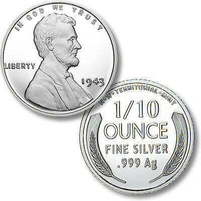 2015 Lincoln 1943 Silver War Penny 1/10th oz .999 Silver BU Round USA Made Coin