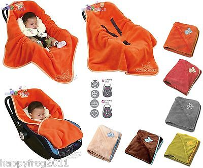 Baby Car Seat MICROFIBRE WRAP BLANKET COSYTOES COVER HOODIE with Seat Belt Holes