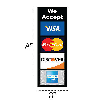 PACK OF 2 CREDIT CARD LOGO DECAL STICKERS - Visa / MasterCard/Discover/Amex