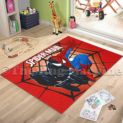 SPIDERMAN RED KIDS FUN PLAY RUG 100x150cm NON-SLIP & WASHABLE **NEW**