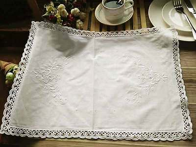 Elegant Hand Tatting Lace Flower Embroidery Cutwork White Cotton Table Place
