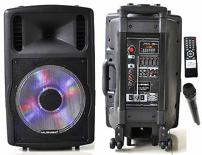 "1200W Professional 12"" Speaker PA System Wireless Mic Bluetooth Rechargeable"