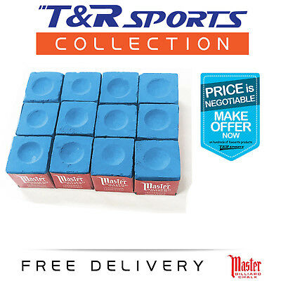 12X Blue Master Snooker Pool Chalk + Chalk Holder Free Au Delivery