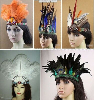 Indian Feather Headband Headdress Carnival Headpieces Headgear Xmas Samba Party