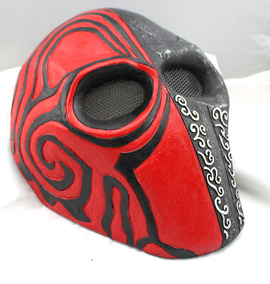 Black Red Fiber Resin Wire Mesh Eye Airsoft Paintball Full Protection Mask M811