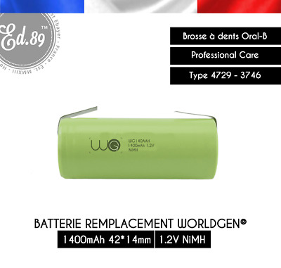 1400mAh Replacement Battery WorldGen Oral B Professional Care PRO 4729 3746