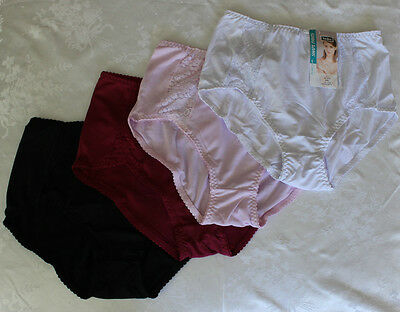 3 Pairs Women Xxl Light Control Fit Full Briefs Pants Lace Trim 4 Colours Avail
