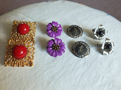 Beautiful Collectible Lot of 4 Pair Clip Earrings Enamel Cabochon WOW