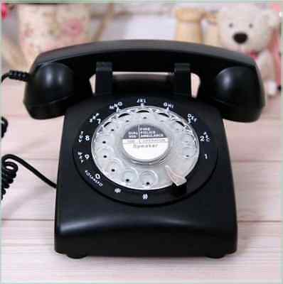 New Black Rotary Dial Retro Cord Telephone Phone Quality Vintage Style Cool