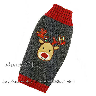 Dog Clothes Christmas Puppy Cat Winter Sweater knit Jumper w/ Reindeer Pattern