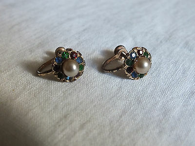 Collectible Screw Back Earrings Signed Sterling Rhinestone Faux Pearl CUTE