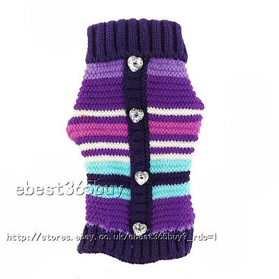 Stripe Style Pet Dog Puppy Warm Jumper Knit Sweater Clothes Costume Coat Apparel