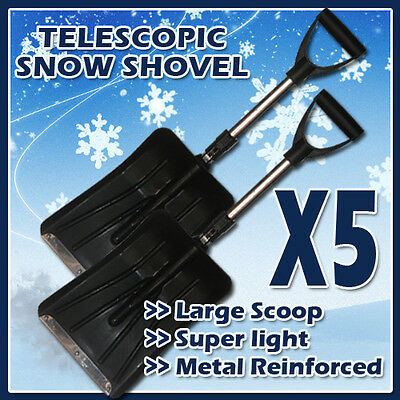 5 X Telescopic Snow Shovel Scoop Car Wide Shovel Head Metal Strip