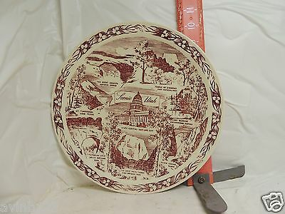 Vernon Kilns Scenic Utah Plate - Shows Sights Of Utah In About 1950 - No Damage!