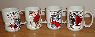 Norman Rockwell The Saturday Evening Post CHRISTMAS MUGS Collection Set of 4