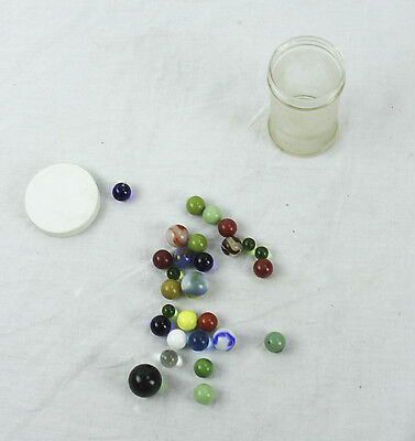 Lot of 28 Vintage Used Marbles Jadite Red Blue Clear Cream Large Small