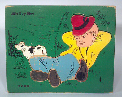 FA Vintage Playskool Old Style Logo Little Boy Blue Wood Frame Tray Puzzle