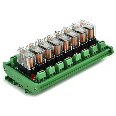 DIN Rail Mount AC/DC 12V control 8 SPDT 16Amp Pluggable Power Relay Module.